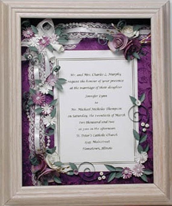 Framed Wedding Invitation Framed Wedding Gift Purple Wedding | Etsy
