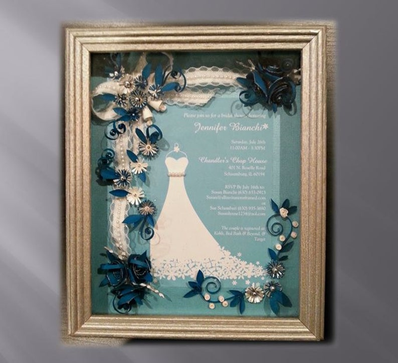 Framed Bridal Shower Invitation Custom Bridal Gift Teal Wedding Wedding Keepsake Shower Gift Wedding Shadow Box Framed Invitation