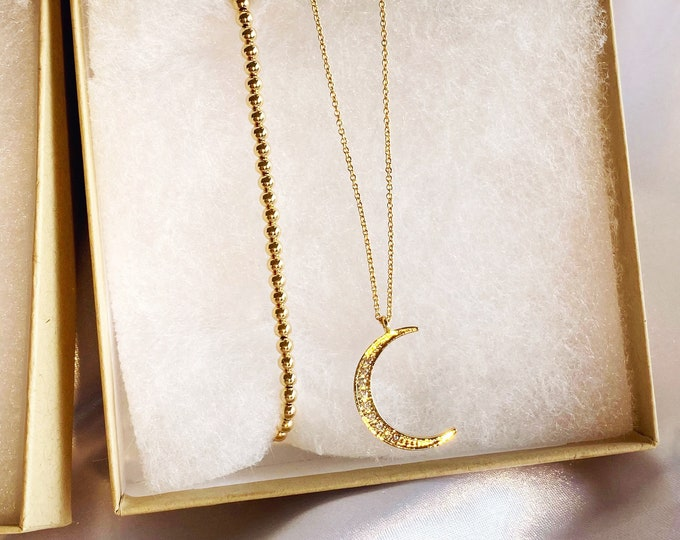 The Bel Air  Crescent Moon Necklace Set with *Free Bracelet