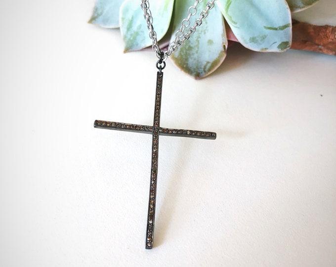 Large Diamond  Cross necklace *last one