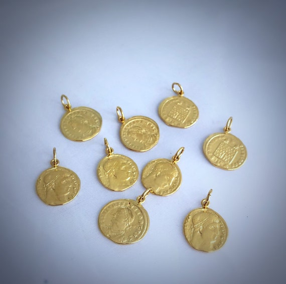 Gold  Coin ~ with large ring attached