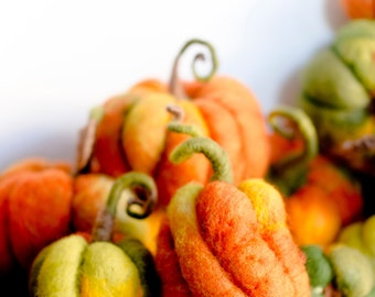 Wool Felt pumpkins, Fall decor, Autumn Decorations, DIFFERENT SETS