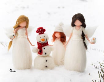 Winter happy fairy set Petruška, white, needle felted Waldorf inspired, wool felt, snowman, ornament, decoration, collectable dolls