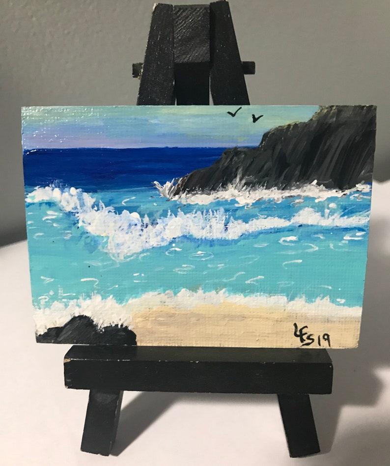 ACEO Original Art Painting Seagulls Beach Tropical Seascape #1 by Lauri Shorter