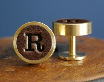 Personalised Cufflinks - Leather and Solid Brass - Gift for Him - 3rd Anniversary - Wedding Cufflinks