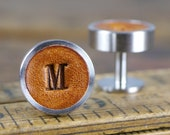 Personalised Cufflinks for Wedding, Leather Groom and Groomsmen Gift, 3rd Anniversary Gift, Gift for boyfriend