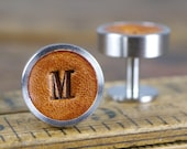 Personalised Cufflinks for Groom and Groomsmen Gift, 3rd Anniversary Gift - Leather. Wedding Cufflinks, Gift for boyfriend