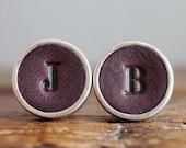Personalised Leather Cufflinks - Dark Brown - Groomsmen Cuff links - 3rd Anniversary Gift - Handmade Wedding Cufflinks - Father of the bride