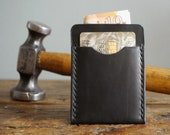 Black Leather Card Holder for Men, Slim Leather Wallet, Minimalist Wallet for Him, 3rd Anniversary Gift