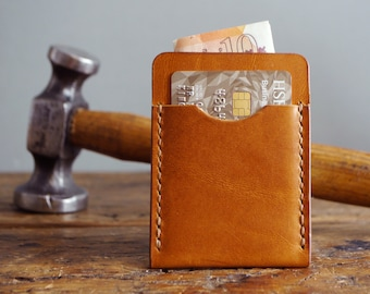 Tan Leather Card Holder, Slim Minimalist Wallet for Men, Gift for Him, Tan Leather Wallet