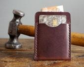 Dark Brown Leather Card Holder, Slim Minimalist Wallet for him, 3rd Anniversary Gift