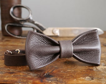 6ce5e64e9114 Leather Bow Tie - Espresso Brown Real Leather Bow Tie - Wedding Bow Tie -  Dickie Bow - Groomsmen Bow Tie - Dark Brown