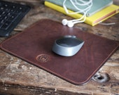 Leather Mouse Pad, Handmade Leather Mouse Mat in Brown, Desk Pad, Work from Home, Office