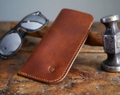 Leather Sunglasses Case, Antique Tan Leather Glasses Case, Slim Glasses Holder, Glasses Sleeve