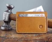 Tan Leather Card Holder Wallet - Handmade Slim Wallet with Cash Pocket - Mens Leather Wallet