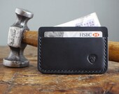 Black Leather Wallet - Handmade Card Holder Minimalist Wallet with Cash Pocket - Mens Leather Wallet