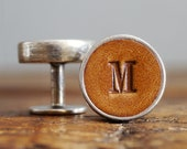 Personalised Cufflinks for Groom and Groomsmen Gift, 3rd Anniversary Gift - Leather. Wedding Cufflinks, Gift for boyfriend, Fathers Day