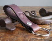 Leather Keychain, Leather Key Fob - Riveted Leather Keyring in Dark Brown