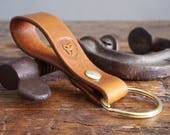 Leather Keyring, Leather Key Fob - Riveted Leather Keychain in Antique Tan