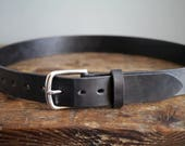 Mens Leather Belt for Weddings, Formal Events, Work and Casual Wear - Black Full Grain Leather