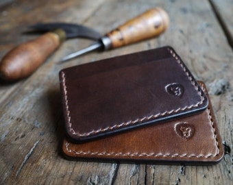 Dark Brown Leather Card Holder Wallet - Handcrafted Mens Slim and Minimalist Wallet with Cash Pocket. Mens Leather Wallet and Everyday Carry