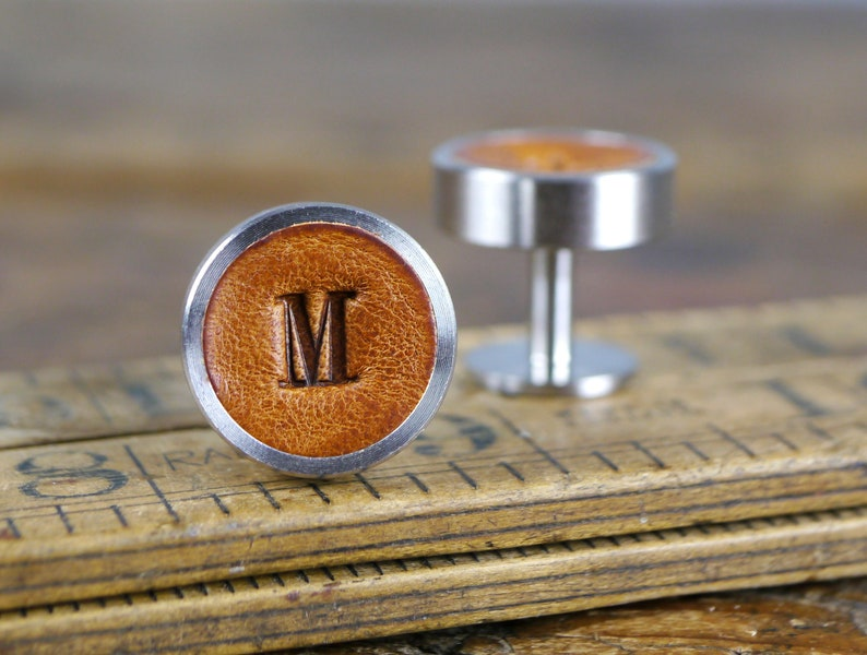 Personalised Cufflinks for Wedding Leather Groom and image 0