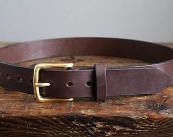 Brown Leather Belt, 3rd Anniversary Gift for Men, Wedding Belt for Groom and Groomsmen. Formal or Casual Wear, Gift for Boyfriend