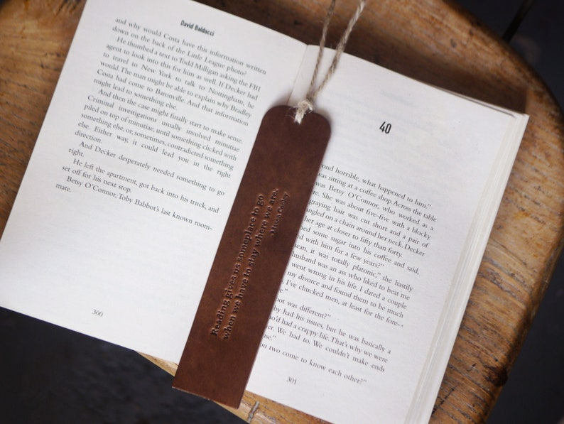 Handmade Leather Bookmark Dark Brown Gift for Reader Real image 0