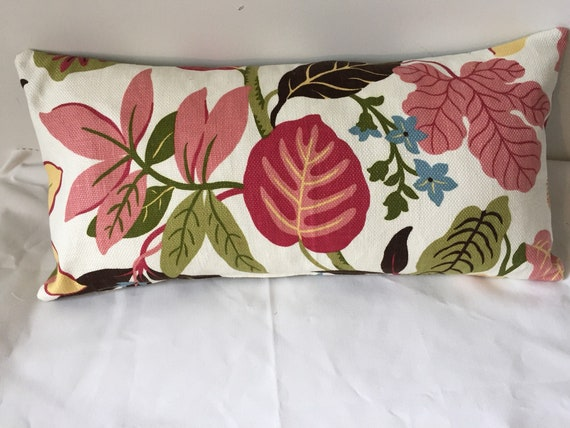 Floral Lumbar Pillow Cover With Mauve Green And Brown Leaves Etsy