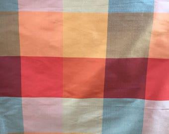Bright plaid silk dupioni pillow cover in gorgeous bright jewel tones
