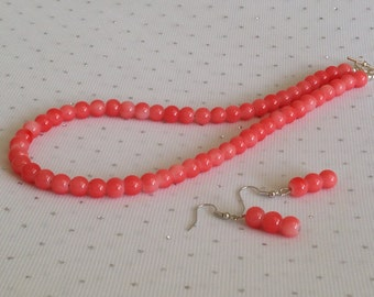 Pink Coral Necklace, Pink Coral Wedding Jewelry, Bridesmaid Gift, Coral Bridal Jewelry Set, Coral Beaded Necklace, Summer Wedding Jewelry