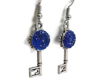 Silver Key Earrings, Skeleton Key Jewelry, Cobalt Blue Earrings, Jewelry Gift for Her, Unique Jewelry, Antique Silver Charm Key Jewelry