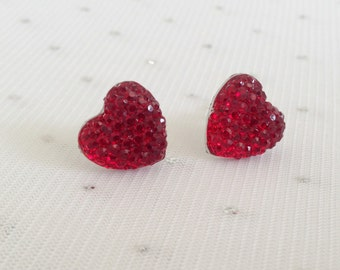 Red Heart Stud Earrings, Valentines Day Jewelry, Gift for Her, Red Rhinestone Earrings, Red Heart Jewelry, Heart Jewelry Gift for Mom