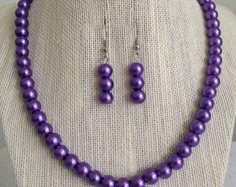 Purple Pearl Bridesmaid Necklace, Purple Wedding Jewelry, Pearl Necklace, Purple Jewelry, Purple Bridal Jewelry, Bridesmaid Gift