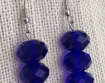 Cobalt Blue Faceted Glass Dangle Earrings, Cobalt Blue Wedding Jewelry, Blue Beaded Earrings, Cobalt Blue Bridesmaid Jewelry