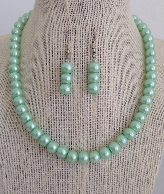 Seafoam Green Wedding Ideas: Mint Seafoam Green Bridal Jewelry Set Seafoam Green Wedding