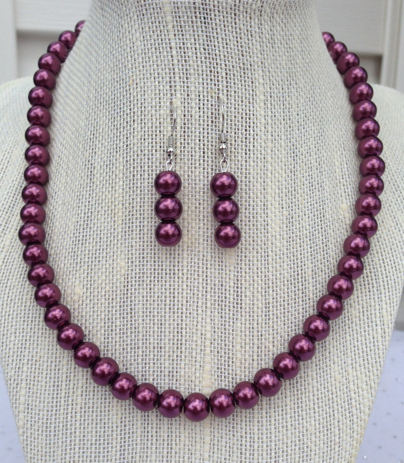 Burgundy Pearl Necklace  Burgundy Wine Dangle Earrings  image 0