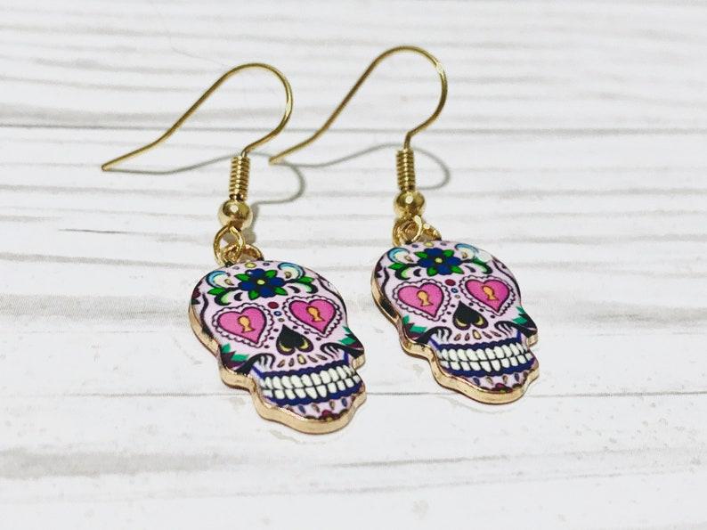 Halloween Skull Earrings Sugar Skull Gifts Halloween Accessories for Her Dia de los Muertos Earrings Sugar Skull Dangle Earrings