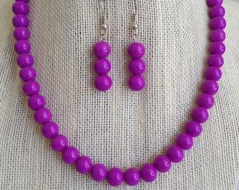 Purple Bead Necklace, Violet Bridesmaid Jewelry, Glass Beaded Necklace, Jewelry Gift Set, Purple Bead Jewelry, Gift for Mom, Violet Wedding
