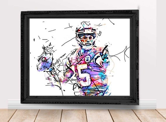 Patrick Mahomes Kansas City Quarterback Watercolor Print Poster Sports Art Print Football Drawing Illustration Nfl Painting