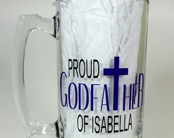 Personalized Proud Godfather Beer Mug - Godfather gift