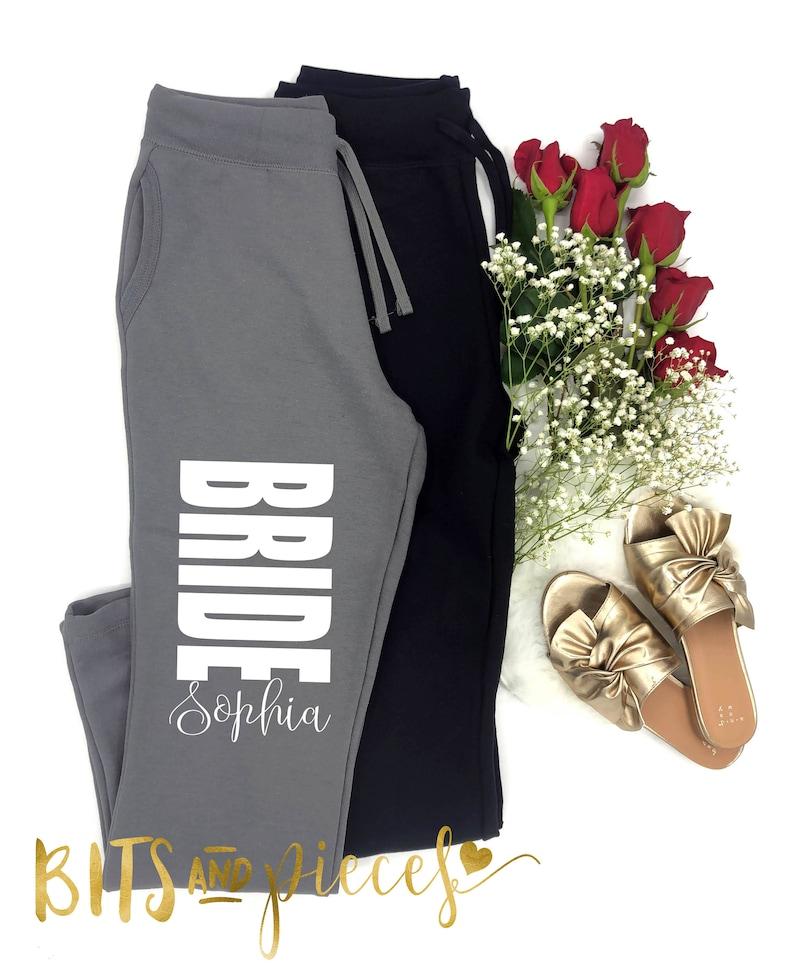 Bridal Party Pants fleece Bachelorette Party Bachelorette Spa Day Bride Sweatpants bottoms Bridesmaid workout pant Maid of Honor