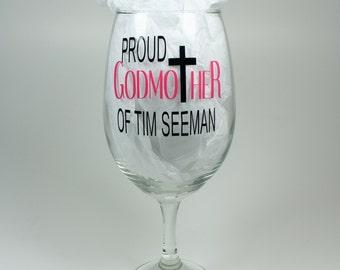Personalized Proud Godmother Wine Glas - Godmother Gift/Keepsake