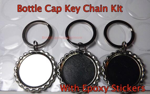 25 Diy Bottle Cap Key Chain Kit Flattened Bottlecaps 3d Etsy
