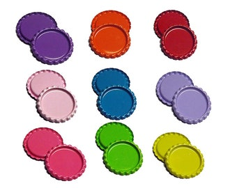 Colored Flat Bottle caps for Hair bows - Pick your color - Flattened bottlecaps - Hairbow supplies - craft supplies - hair bow centers
