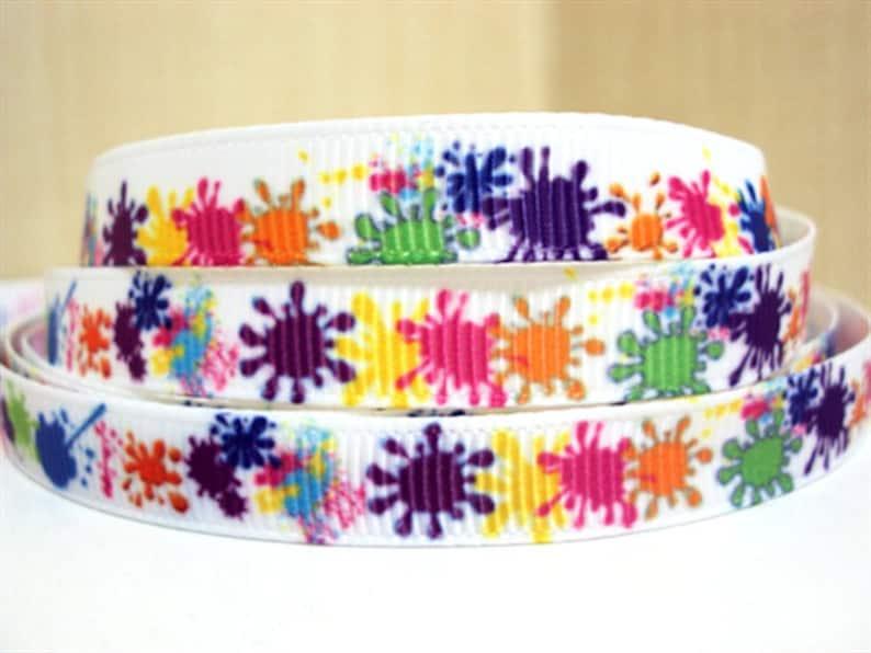 "8 yards 7//8/"" Colorful Rainbow Splash Printed Grosgrain Ribbon"