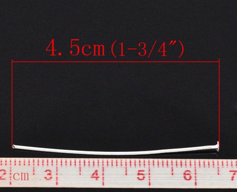350  45mm Silver Plated Head Pins 4.5cm 1 68 long headpins- long headpins 0.7mm - bulk headpins 21 gauge wholesale pins