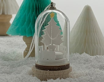 Miniature Toy Train under the Christmas Tree Dome Decoration