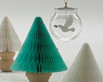 Miniature Dove of Peace Glass Globe Hanging Decoration