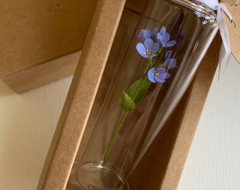 Miniature Forget Me Not Flower in a Glass Bottle